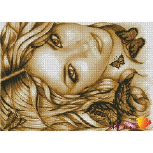 Алмазная вышивка девушка с бабочками