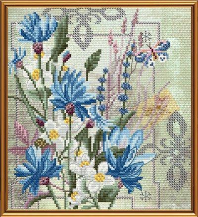Вышивка смешанными цветами